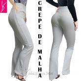 calça branca bolso(GG-46),flare ou reta, tecido crepe de malha com elastano