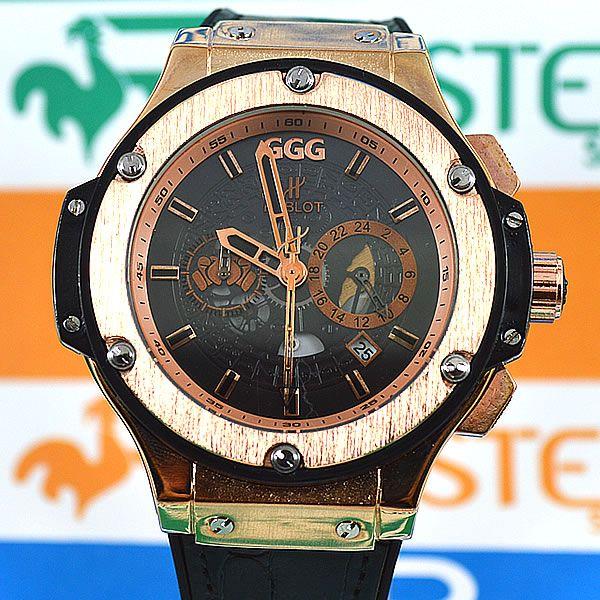 6b19ff9f25c Relógio Hublot Geneve Big Bang King GGG Rosé Fundo Preto Pulseira Couro  Masculino À prova d