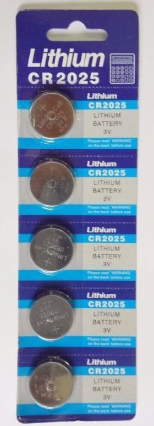 Bateria CR 2025 cartela com 5
