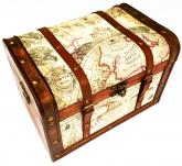 Baú De Madeira Decorativo Mapa Clássico Retrô 44cm