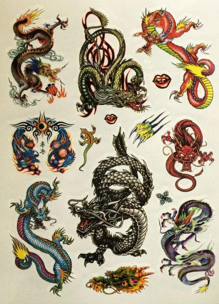 Kit Com 60 Tatuagens Dragões Tribais