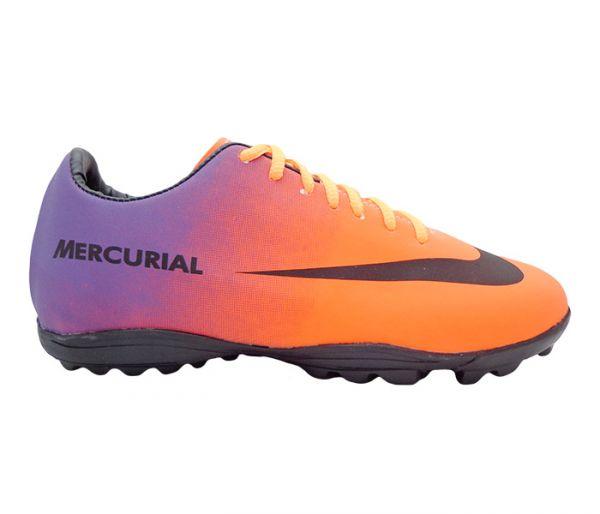 47e20c030626f Chuteira Society Nike Mercurial Laranja e Roxa Modelo 11615 - A Pronta  Entrega