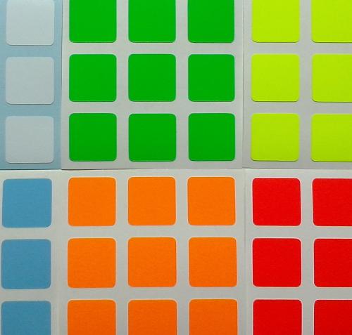 Adesivos Cubos Mágicos 3x3 de 56 a 57mm FLUO SUPER BRIGHT (Serve Dayan Shengshou Rubik)
