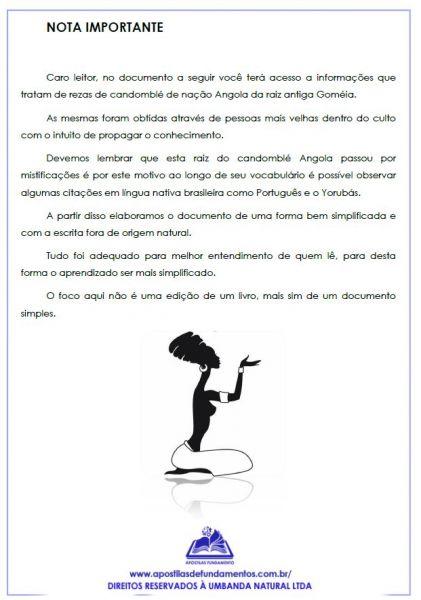 APOSTILA INGOROSSI - REZAS DA NAÇÃO ANGOLA+ÁUDIO