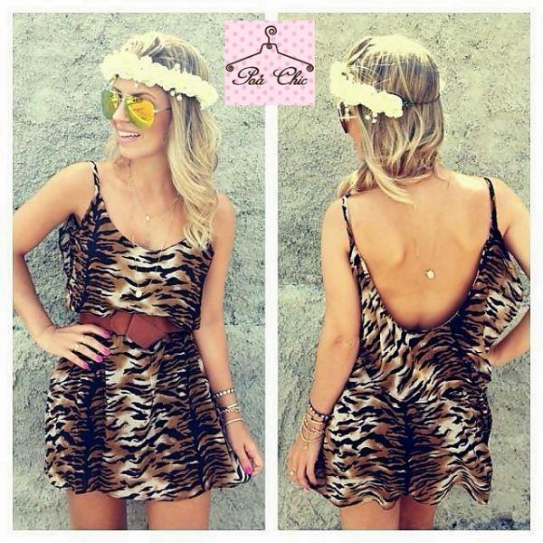 Vestido Animal Print - Decote costas