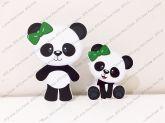 2 Displays de mesa - Panda - laço verde
