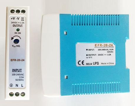EFR-20-24 Fonte Chaveada Industrial 24V / 1A - Montagem em Trilho DIN