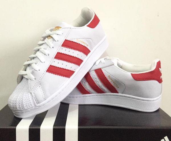 4de76786102 Tênis Adidas Super Star - Branco Vermelho - Shop Tênis Multimarcas
