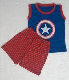 Conjunto Camisa Regata e Short Personagens - Capitão América - Tam. G