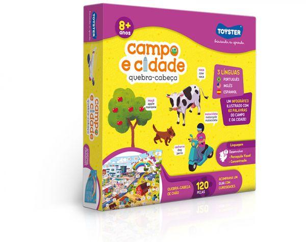 Campo e Cidade (Trilíngue) – quebra-cabeça 120 peças grandão