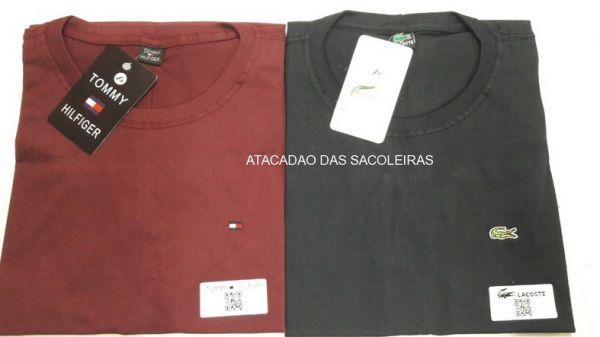 10 Peças - Camiseta Gola Careca Bordada Primeira Linha