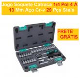 Jogo Soquete Catraca 1/4 Pol 4 À 13 Mm Aço Cr-v 29 Pçs Stels + FRETE GRÁTIS