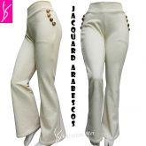 calça flare ou reta G(44), com bolsos na frente e aplique de botões, bege/offwhite