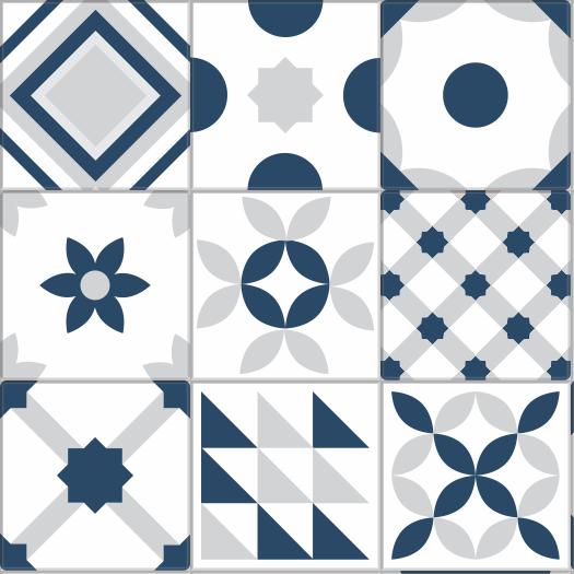 .Adesivo Azulejo Hidráulico Geometria Blue and Gray - Azulejo 086