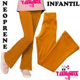 Calça infantil, bailarina/flare ou reta, mostarda (08-10-12-14) tecido neoprene