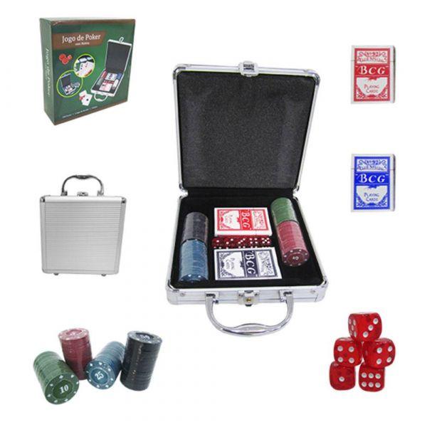 Maleta Jogo de Poker, 100 Fichas, 2 Jogos de Baralho e 5 Dados