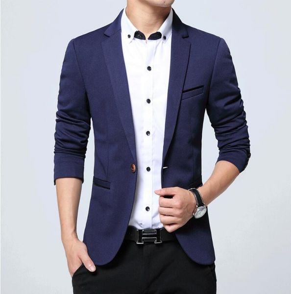 0b6b7e5b70 Blazer Masculino Formal Casual EleganceMan - Azul escuro - Ref. Blz02