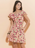 10a9489ec5 Vestido Floral com babado no decote XXG