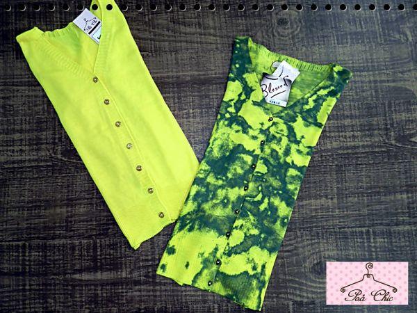 Cardigan Amarelo e Tie Dye (Amarelo e Verde)