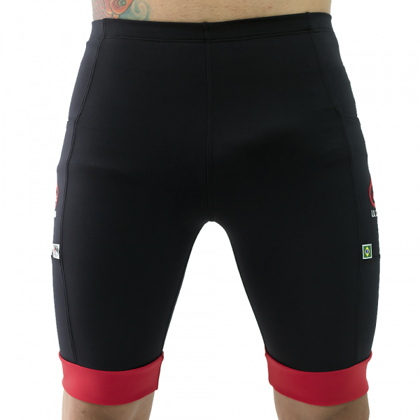 'Bermuda Masculina Compressão c/ Bolsos Preta + Punho Vermelho - Emana