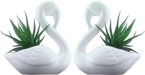 2 Vasinhos Em Cerâmica - Cisne - Suculentas - Plantas