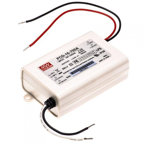 PCD-16-700A Driver Dimerizável 16W / 700 mA Mean Well (para LEDs de 3W)