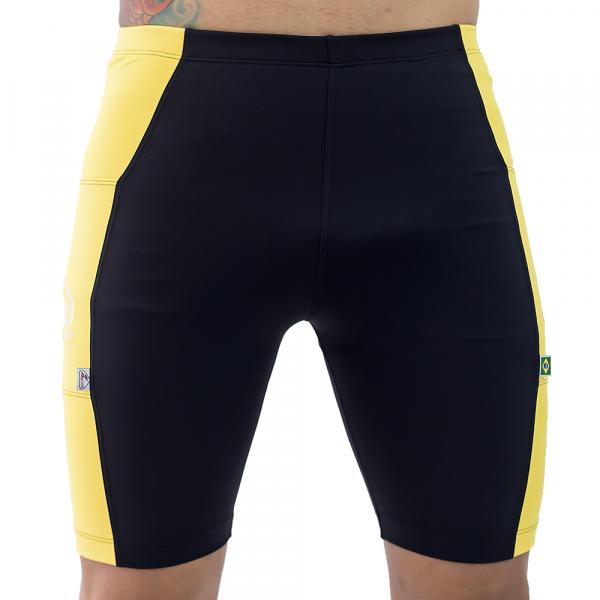 Bermuda De Compressão preto/amarelo Masculina Com Bolsos