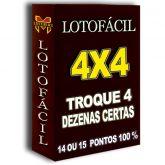 LOTOFÁCIL 4x4,  14 ou 15 pontos 100% troque 4 dezenas certas e ganhe.