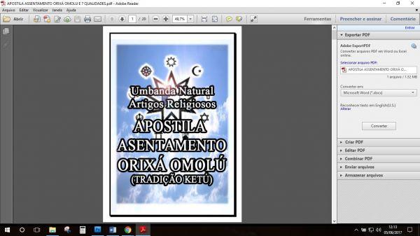 APOSTILA ASSENTAMENTO ORIXÁ OMOLÚ