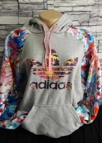 7281f076113 Blusa Moletom Adidas Cinza Floral 2 - Outlet Ser Chic