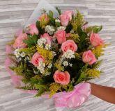 Buquê 12 rosas cor Rosa