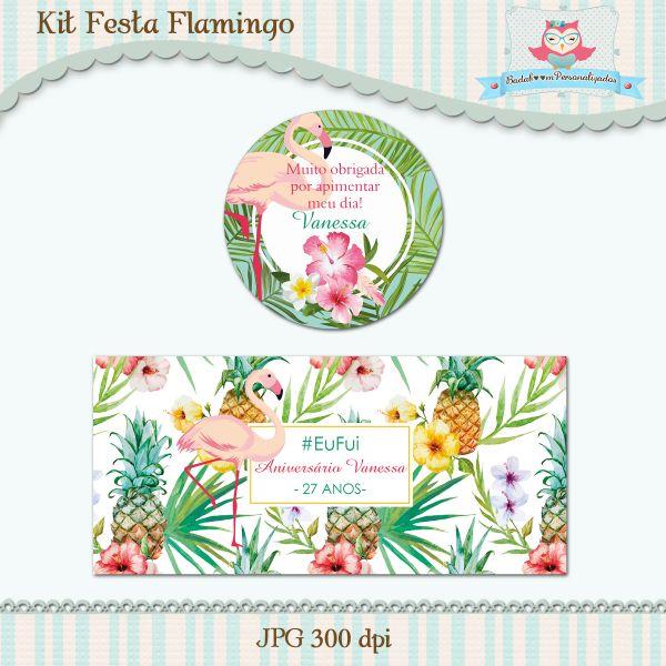Kit Festa Flamingo Badaboom Personalizados