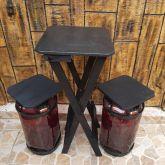 mesa bistrô alta dobrável com 2 banquetas estilosas