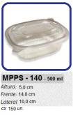 MPPS-140 EMBALAGEM PP FREEZER MICROONDAS 500 ML C/ TAMPA C/ 150 UN.