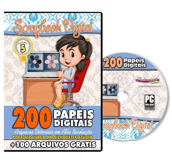 DVD 200 Papéis Digitais para Scrapbook Volume 5
