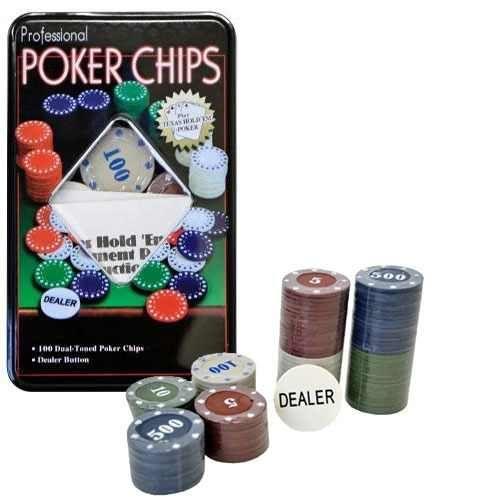 100 Fichas Caixa Metal Jogo Poker Cassino + Baralhos 19cm