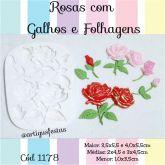 Rosas com Galhos e Folhagens - Cód 1178