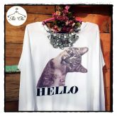 Moletom Estampado Cat Hello (Branco)