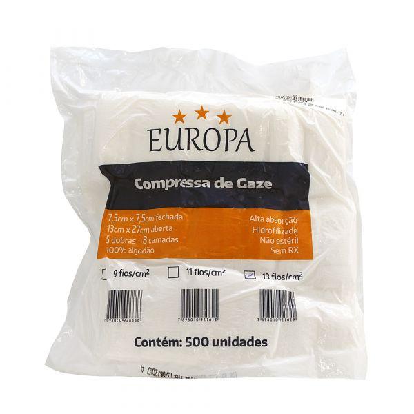 Compressa de Gaze não estéril 13F EUROPA - (pacote com 500 compressas)