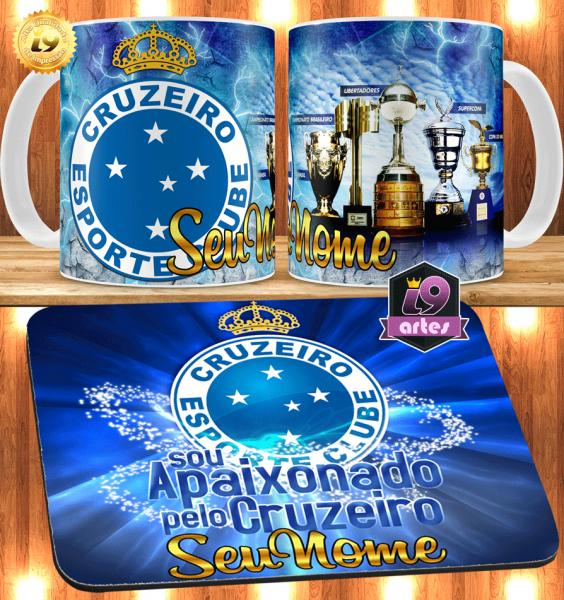 caneca + mousepad Cruzeiro personalizado com seu nome - Guriri Artes a017a79cbb274