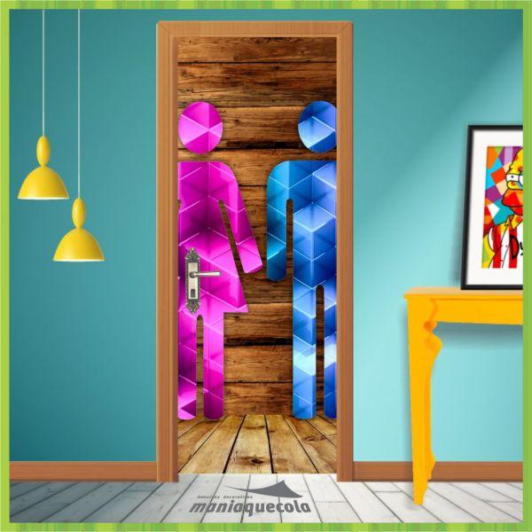 Valmor Artesanato Joinville ~ Adesivo Porta Banheiro Unisex Homem Mulher Criativo 053 Mania Que Cola Adesivos Decorativos