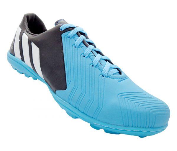 39e4735fca1c5 Chuteira Society Adidas Predator Instinct 2015 Preto e Azul Bebê - Cabedal  confeccionado em material