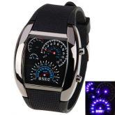 Relógio Aviação LED Azul velocímetro analógico