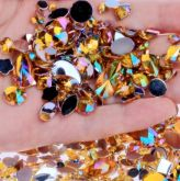 Pedrarias Para Unhas - Mix Modelos Sortidos Dourado