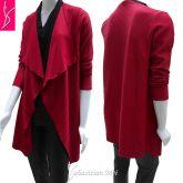 cardigan plus size vermelho canelado(48/50-52/54), malha média elasticidade