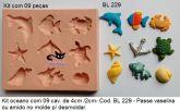 Kit Oceano com itens diversos com aprox. 3cm cada