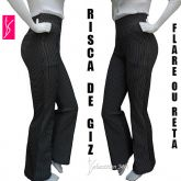 calça feminina risca de giz(P-M-G), com bolsos