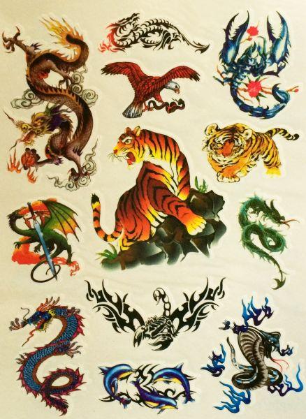 Kit Com 60 Tatuagens Tribais Colorida