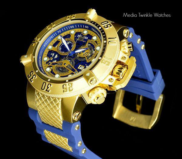 dc2797d6874 Relógio Invicta 18527 Subaqua Chronograph Gold Skeleton Dial Blue Banhado à  Ouro 18K