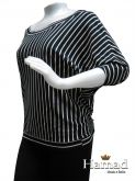 blusa listrada manga morcego GG(46), preta e branca, malha com elastanoe branco